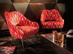 "A pair of 1960s Ico Parisi chairs reupholstered in a vibrant Dedar ""Coup de Foudre"" velvet fabric."