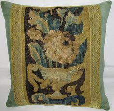 Antique 18th Century French Tapestry Cushion  by FromAFrenchAttic