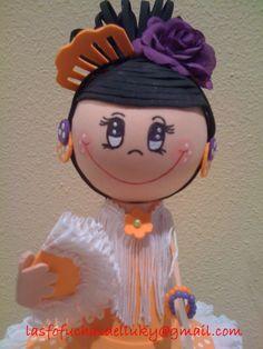 Fofucha gitana con traje naranja parte superior/Fofucha doll in orange andalusian dress upper part
