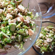Paleo chicken salad recipe with crunchy green apples, shredded Brussels sprouts, almonds and sweet raisins. A quick vinaigrette gives it some zip!