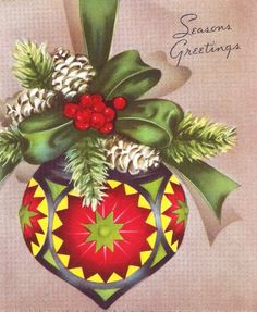Vintage Christmas Card Pretty Tree Ornament by PaperPrizes on Etsy
