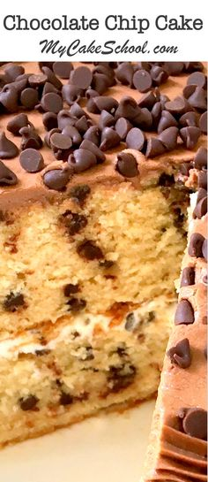 This fabulous Chocolate Chip Cake has all of the wonderful flavors of a Chocolate Chip Cookie! Recipe by MyCakeSchool.com. Online Cake Decorating Tutorials & Recipes!