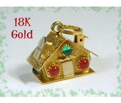 18K Gold ~ Swiss Chalet Christmas House Charm Pendant 4.98 grams - $375  www.FindMeTreasure.com