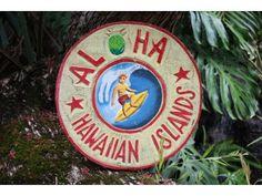 """Aloha Hawaiian Islands"""" Vintage Surf Sign - 16"""