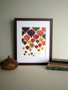 Pressed leaf print, 11x14 double matted, Chinese Tallow tree leaves, bright fall colors, wall decor no. 0016
