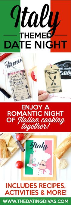 Fun printables for an Italian Date Night including invitation, recipe cards, activities, and MORE. They have lots of countries to choose from too so you can do one country each month and travel the world throughout the year. SUCH a fun idea!! From http://www.TheDatingDivas.com