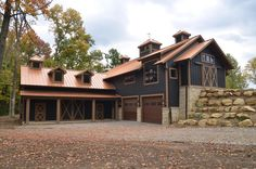 Focus on the color scheme not the barn style.  I like the idea of a copper steel roof, navy siding and brown/tan trim.