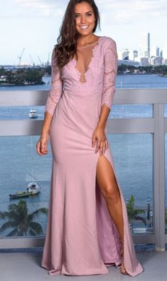 Mauve Lace Top Prom Dress with Lace , V Neck Prom Dress With Side Slit Friday Bridal Sexy Formal Dresses, V Neck Prom Dresses, Unique Dresses, Maxi Dresses, Party Dresses, Evening Gowns On Sale, Evening Party Gowns, Evening Dresses, Popular Dresses