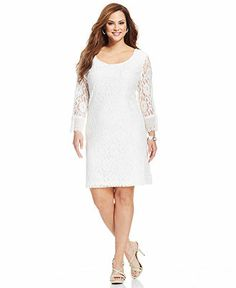 3347a90ca6265 Plus Size Three-Quarter-Sleeve Lace A-Line Dress - Plus