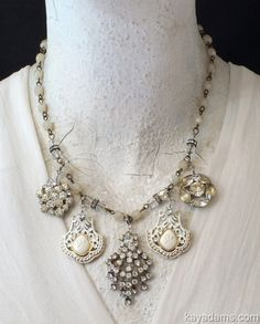 A6668 [A6668] - $185.00 : Kay Adams, Anthill Antiques, Jewelry and Chandelier Heaven. Classic Beauty in a Necklace Form. Rhinestones and Creamy White. Wear with jeans OR on your wedding day . . . or to the office. talk about versatile! #gottagettakay