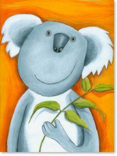 Bilder Kinderzimmer auf Leinwand gedruckt für Jungen und Mädchen | Motiv: #Koala #Bär - Malstil: Pastellbilder für Kinder im Alter von 0 - 14 Jahren.