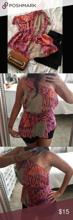 2B Bebe One Strap Blouse It was worn once but no flaws, vey new. It is stretchable at the waist and something fashionable for a night out. 2B Bebe Tops Blouses