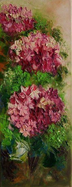 Pink Purple Hydrangea Hortensia Original Oil Painting Textured Europe Artist   eBay