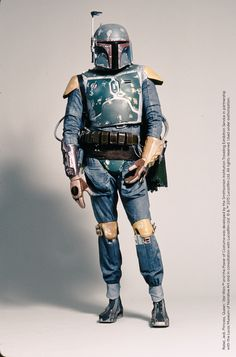 """Boba Fett's armor started out as an all-white """"supertrooper"""" stormtrooper costume, and evolved into the feared bounty hunter's colorful, battle-damaged suit. Design by Joe Johnson (based on sketches by Ralph McQuarrie)  #StarWarsCostumes #behindtheseams"""