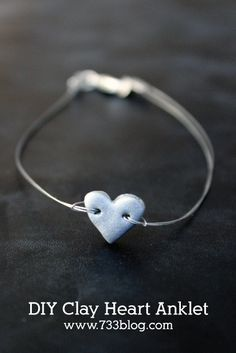 DIY Clay Heart Anklet