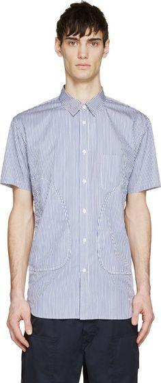 Comme des Garçons Shirt Blue & White Striped Mock Pocket Shirt