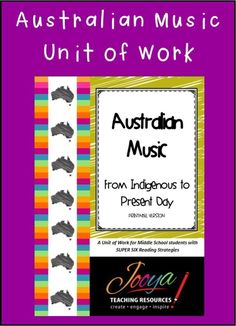 Australian Music Unit of Work from Jooya Teaching Resources. This a 160 page resource that is packed with value! It includes Super Six Reading Strategies, TXXXC paragraph writing and links to ALL listening samples!!!! Just print and teach!