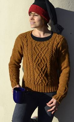 Parhelion Sweater Pullover Free Aran Knitting Pattern Braided braids cable