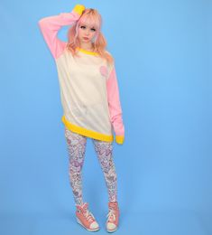 Soft knit sweater by Japanese fairy kei brand Milklim with extra long sleeves and pink embroidered bear patch. Size: Japanese one size. Would best fit a western size medium. Will fit up to a UK size Harajuku Girls, Harajuku Fashion, Kawaii Fashion, Liz Lisa, Japanese Outfits, Kawaii Clothes, Japanese Street Fashion, Mori Girl, Kawaii Girl