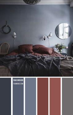Grey Brown Bedrooms, Grey Bedroom Colors, Accent Colors For Gray, Bedroom Colour Palette, Red Colour Palette, Bedroom Red, Bedroom Color Schemes, Home Decor Bedroom, Color Palettes