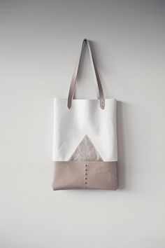 Silver Mountain Leather Tote bag No. TL 4001 by CORIUMI on Etsy, $98.00