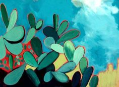 "Saatchi Art Artist ELAINE KEHEW; Painting, ""Nopal Cactus on Safari (Prickly Pear Cactus)"" #art"