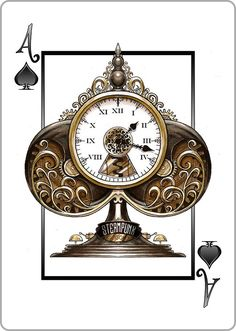 #Steampunk Ace of Spades: Mechanical Clock Tower - find our playing cards #goggledeck here: https://www.steampunkgoggles.com/product-category/accessories/playing-cards/ #PlayingCards