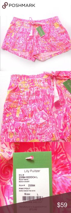 Lilly Pulitzer beach shorts Lilly Pulitzer beach shorts in size large. 100% linen. Lilly Pulitzer Shorts