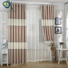 nueva raya chenille tela de la cortina terminado cortina de la sala de estar dormitorio