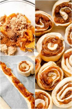 These soft, fluffy and absolutely DELICIOUS Pumpkin Pie Cinnamon Rolls are prepared with pumpkin puree and pumpkin pie spice, then glazed with a sweet cream cheese frosting. They are easy to make, thanks to refrigerated crescent dough, and are ready in just 30 minutes! Easy Pumpkin Pie, Pumpkin Cinnamon Rolls, Pumpkin Dessert, Pumpkin Pie Spice, Pumpkin Puree, Pumpkin Recipes, Fall Recipes, Pilsbury Pizza Dough, Crescent Dough