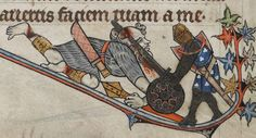 Riese mit Buckler, BL Additional 24686 The Alphonso Psalter, fol. Medieval Helmets, Medieval Armor, Medieval Manuscript, Historical Art, Knights Templar, 14th Century, France, Middle Ages, Moose Art