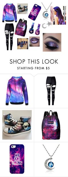 """""""galaxy girl"""" by kitty04123 ❤ liked on Polyvore featuring WithChic, HVBAO, JanSport, Beats by Dr. Dre, Casetify and Khai Khai"""