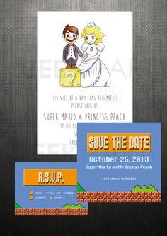 PRINTABLE  Super Mario Bros Wedding invitation Save by Geekandart