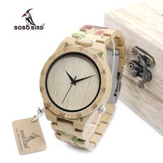 BOBO BIRD WD21 Wooden Watches with Flower Printed Bamboo Band for Men Women in Wood Box OEM //Price: $61.23 & FREE Shipping // #hashtag3
