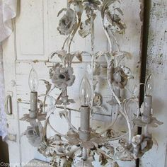 Large toleware chandelier lighting rusty distressed painted putty gray white antique farmhouse ceiling fixture home decor anita spero design