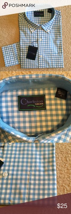 NWT Blue Plaid Dress Shirt Pristine condition.  Never been worn (still like it was when it was pinned and sold in store).  Husband received as gift and it's just not his style. Charleston Threads Shirts Dress Shirts