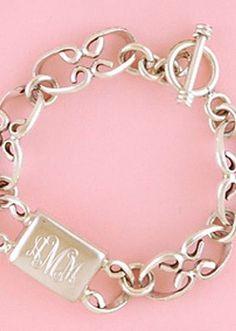 Cute Jewelry, Jewelry Box, Jewelery, Jewelry Watches, Jewelry Accessories, Monogram Bracelet, Monogram Jewelry, Engraved Bracelet, Bracelet Charms