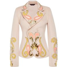 Manish Arora Rodeo Bling Embroidered Blazer (19.199.005 IDR) ❤ liked on Polyvore featuring outerwear, jackets, blazers, embroidery jackets, pink blazer, double breasted blazer, double-breasted jacket and embroidered blazer