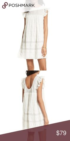 """Rebecca Minkoff White ruffle """"Rose Minidress"""" M Rebecca Minkoff White ruffle """"Rose Minidress"""", new with tags. Scoop neck with flutter ruffled cap sleeves. Light weight striped with semi sheer flock, gathered pleated skirt, scoop back. Pullover. Pit to pit 18"""", length 34"""". Fully lined. 100% cotton shell, 100% polyester lining. Rebecca Minkoff Dresses Mini"""