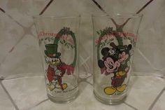 2 Vintage 1982 Mickey's Christmas Carol Glasses Coca-Cola Coke Scrooge McDuck  #CocaCola