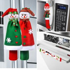 Cute &Practical Fridge Door Covers-Bring the Christmas spirit to your kitchen Fridge Handle Covers, Appliance Covers, Holiday Crafts, Holiday Decor, Christmas Decorations, Christmas Ornaments, Christmas Tree, Christmas Templates, Cute Snowman