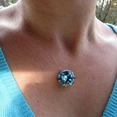 Transparent Blue Crystal Swarovski Pendant by DebbyJoux