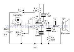 Amplificador LM386 con ganancia de 50 diagrama esquemático.