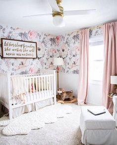 Snowey Rose Wallpaper, Vintage, Floral, Nursery, Wallpaper, Watercolor, Baby, Kids, Decal, Sweet, Room, Wall, Mural, Self-adhesive, Babyroom