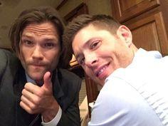 Jared Padalecki and Jensen Ackles on set April 22, 2015