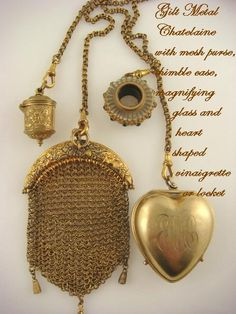 Antique Gilt Chatelaine with Sterling Silver/ Heart Vinaigrette & Magnifying Glass