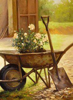 Wheelbarrow Of Roses … Mais Mais Landscape Art, Landscape Paintings, Garden Art, Garden Tools, Pintura Country, Country Scenes, Country Art, Wheelbarrow, Fabric Painting
