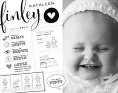 custom designed one year baby infographic style artwork, birthday infographic