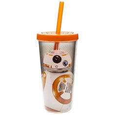 Zak Designs Insulated Tumbler with Screwon Lid and Straw featuring BB8 from Star Wars The Force Awakens Graphics BPAfree Plastic 16 oz ** Click image for more details.