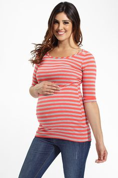 Neon-Coral-Grey-Striped-Fitted-3/4-Sleeve-Maternity-Top #stripematenritytop #fittedmaternitytop #cutematernityclothes